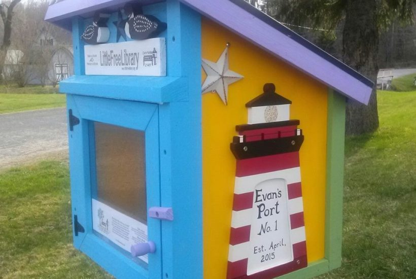 Little Free Library painted lighthouse